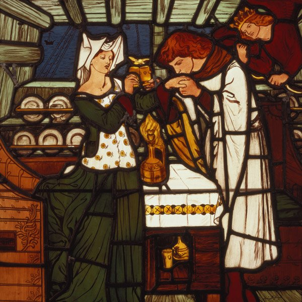 The Love Potion, intended for Isolde the Fair and King Mark of Cornwall, but drunk by Tristan and Isolde the Fair, from 'The Story of Tristan and Isolde', William Morris & Co. (stained glass), Dante Gabriel Charles Rossetti (1828-82) / Bradford Art Galleries and Museums, West Yorkshire, UK