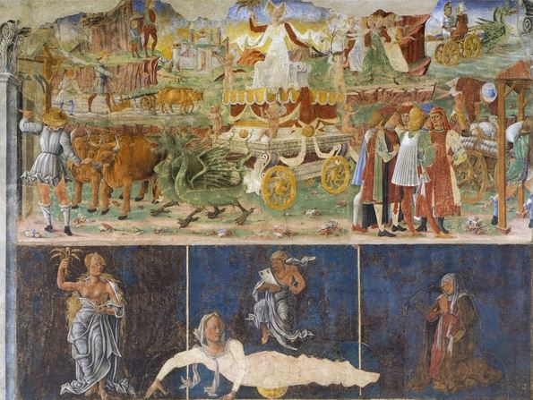 Triumph of Ceres and Sign of Virgin with three deans, scene from Month of August, attributed to Cosimo Tura (circa 1430-1495) and Master of Ercole, fresco, north wall, Hall of Months, Palazzo Schifanoia (Palace of Joy), Ferrara, Italy, circa 1470 / De Agostini Picture Library / A. De Gregorio