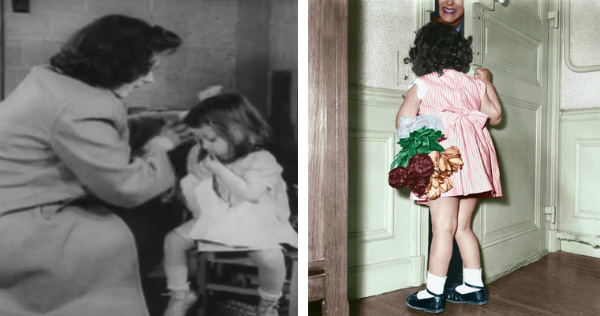 Left: Children and their parents, eating, shopping, watching a show. America 1940s Right: Mothers Day : Little Girl Opening Door To her Mother, She'S Holding A Bunch of Flowers, 50'S (photo) / Photo © AGIP
