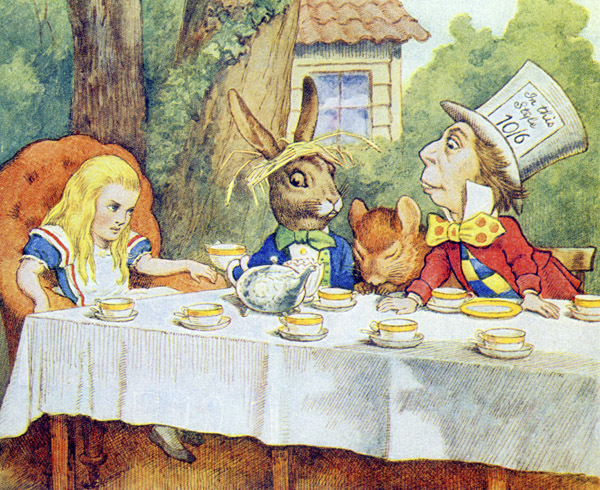 The Mad Hatter's Tea Party, illustration from 'Alice in Wonderland' by Lewis Carroll (1832-9) (colour litho), John Tenniel (1820-1914) / Private Collection