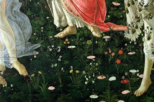 Primavera: detail of flowers by Sandro Botticelli (1444/5-1510) / Galleria degli Uffizi, Florence, Italy