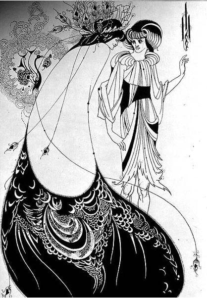 colouring-book-aubrey-beardsley-peacock-skirt