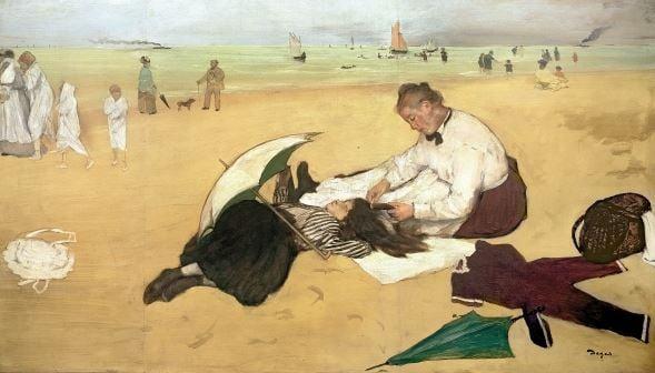 Beach scene: little girl having her hair combed by her nanny, c.1876-77 (oil on paper), Edgar Degas (1834-1917) / National Gallery, London, UK