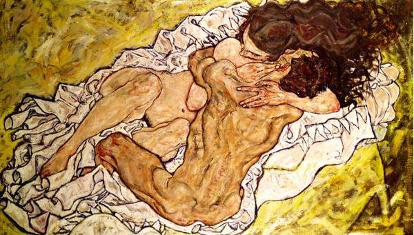 The Embrace, 1917, Egon Schiele (1890-1918) / Osterreichisches Galerie, Vienna, Austria / Bridgeman Images