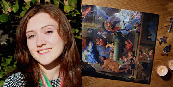 Left - Flora Spens - Account Manager, London Right - Adoration of the Shepherds Jigsaw Puzzle Wentworth Wooden Puzzles