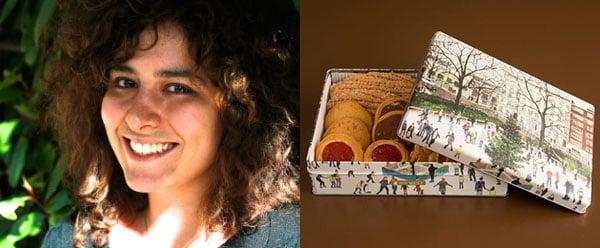 Right - Giulia Leali - Account Manager, London  Left - Ginza West biscuit tin featuring artwork by Emma Haworth/ Bridgeman Studio