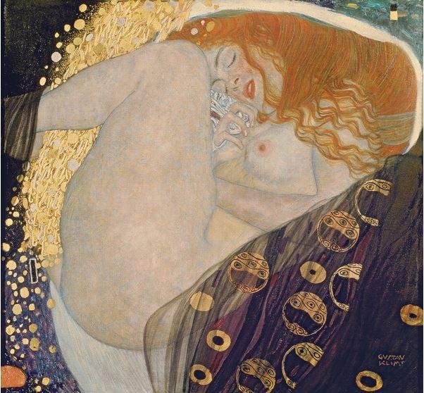 gustav-klimt-danae-nude-gold-woman-art