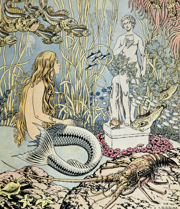 The Little Mermaid before a statue in the sea, illustration for a fairy tale by Hans Christian Andersen (1805-75), from 'Album du Pere Castor' published by Flammarion, 1937 (colour engraving), Ivan Jakovlevich Bilibin (1872-1942) / Private Collection / Archives Charmet