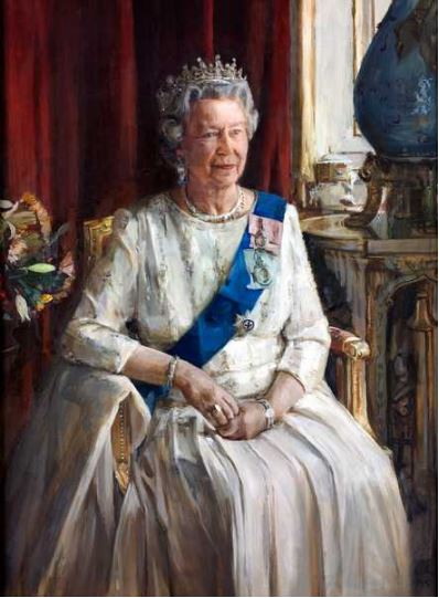 HM Queen Elizabeth II, 1995 (oil on canvas), Furr, Christian / Private Collection