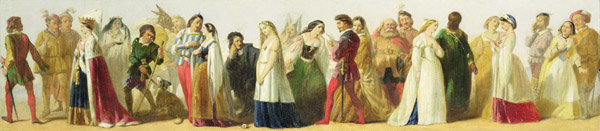 XYC158017 Procession of characters from Shakespeare (oil on board) by Irish School, (19th century); 31.1x137.8 cm; Yale Center for British Art, Paul Mellon Fund, USA; (add.info.: formerly attributed to Daniel Maclise (1806-70);); Irish, out of copyright