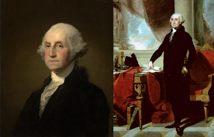 Left: George Washington, 1796-1803 (oil on canvas), Gilbert Stuart (1755-1828) / Sterling and Francine Clark Art Institute, Williamstown, Massachusetts, USA Right: George Washington by Gilbert Stuart, Private Collection; Peter Newark American Pictures