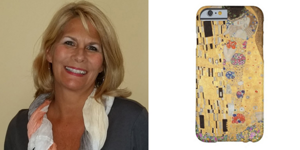 Left:  Wendy Zieger - Senior Account Manager, New York  Right -  The Kiss by Gustav Klimt iPhone 6 Case on Zazzle