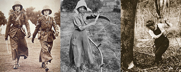 The Countess of Athlone (left) in the Women's Transport Service (b/w photo) by English Photographer, (20th century); Private Collection; Peter Newark Military Pictures; Harvesting, 1916, English Photographer / Private Collection / Bridgeman Images; A woman-worker, 1916 / Private Collection / The Stapleton Collection / Bridgeman Images
