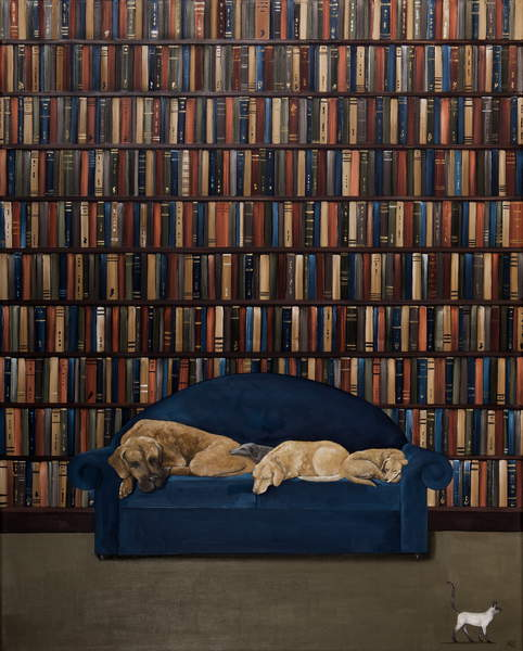 image painting of a library with a sofa on which 4 dogs are sleeping and a cat is passing by Let Sleeping Dogs Lie, Ca 6125011