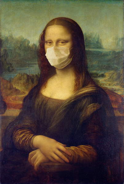 image of the Mona Lisa wearing a face mask, gioconda con mascherina The Beauty of Face Masks, 2020, (digital collage), Skogrand, Trygve  Private Collection  © Trygve Skogrand  Bridgeman Images 6192345