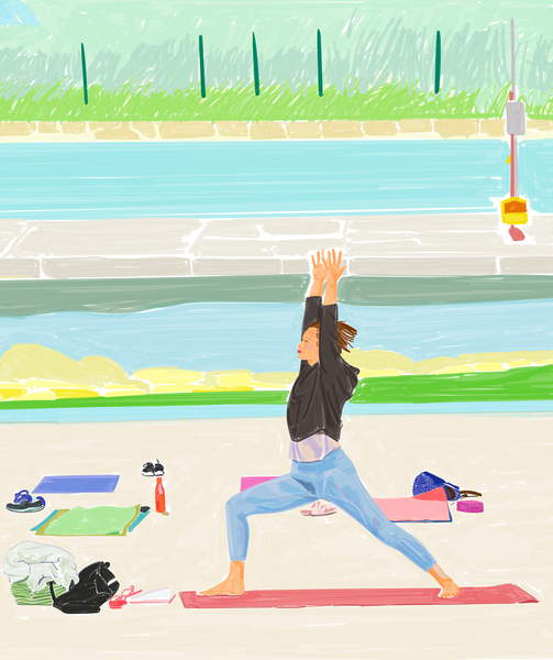 image illustration of a woman doing pilates in a park by water The PilatesYoga Class, 2020 (Digital Painting | Triptych Central Panel), Sughi, Mario  Private Collection  © Mario Sughi  Bridgeman Images 6334463