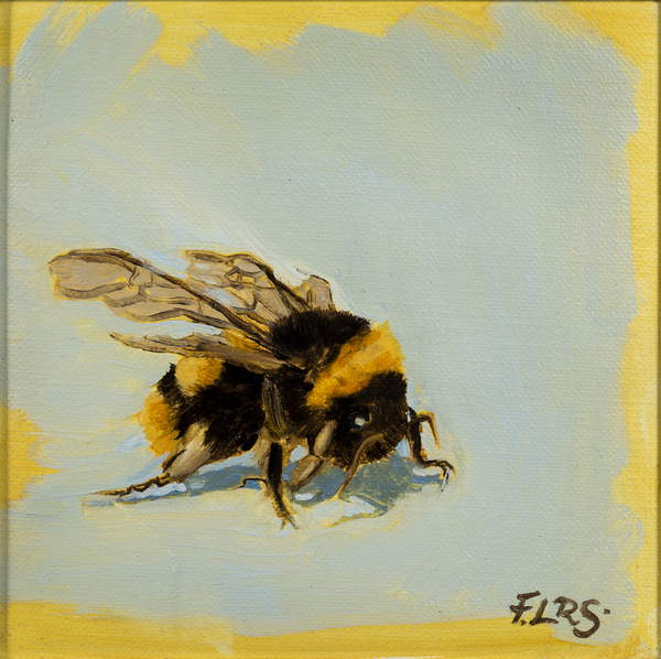 painting of a Bee , oil on canvas, 2019, Sanders, Francesca  Private Collection  © Francesca Sanders  Bridgeman Images 5981443