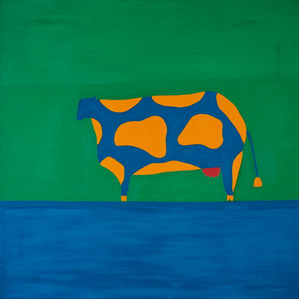 bright green and blue background with a multicoloured Cow,1998,(oil on linen), Rodriguez, Cristina  Private Collection  © Cristina Rodriguez  Bridgeman Images 6348261