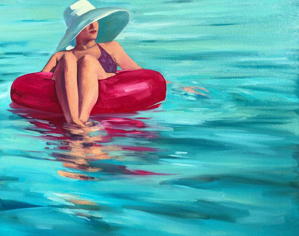 painting of a woman wearing a big white hat, drifting in a blue sea waterDrifting, 2019, (oil on canvas), Harris, T.S.  Private Collection  © T.S. Harris  Bridgeman Images 6266019