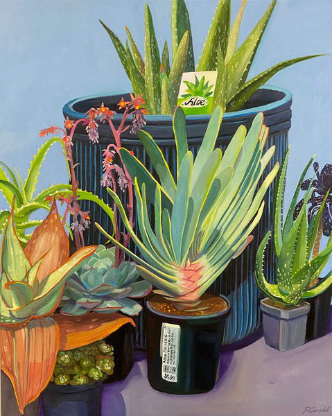 painting of potted plants, aloe and succulents Last Tea with my Mother, Campbell, Rachel  Private Collection  © Rachel Campbell  Bridgeman Images  6368291