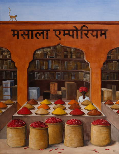 Masala,  painting of spices in an open air Indian market © Rebecca Campbell  Bridgeman Images  5899642