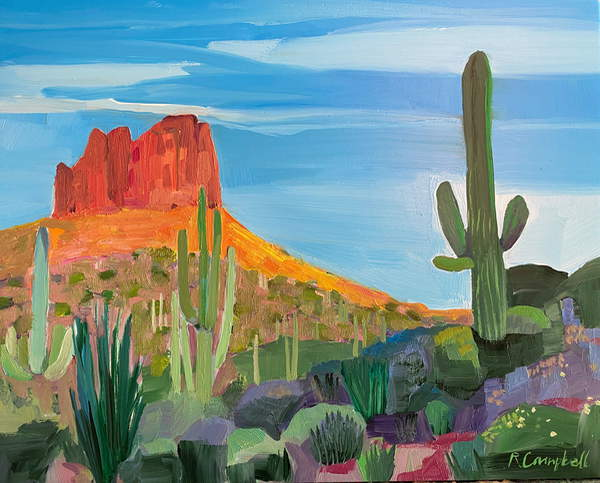 painting of a red mountain in a New Mexico desert, Campbell, Rachel  Private Collection  © Rachel Campbell  Bridgeman Images 6259338