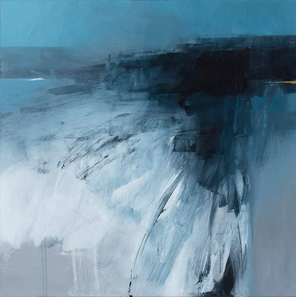 abstract painting of a Rising Sea, white, grey, blue and black 2019 (mixed media on canvas), Canning, Neil (b.1960)  Private Collection  © Neil Canning  Bridgeman Images 6354218