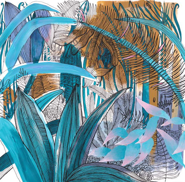 Tropical Garden, 2015, (acrylic & ink), Orr, Charlotte  Private Collection  image of an etching of green and brown leafs © Charlotte Orr  Bridgeman Images 2823138