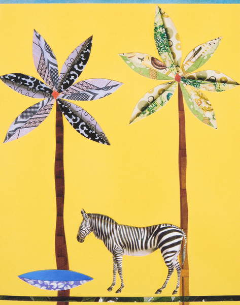 bright yellow image with a Zebra with Blue Bowl, collage, French, Genevieve  Private Collection  © Genevieve French  Bridgeman Images 6108420