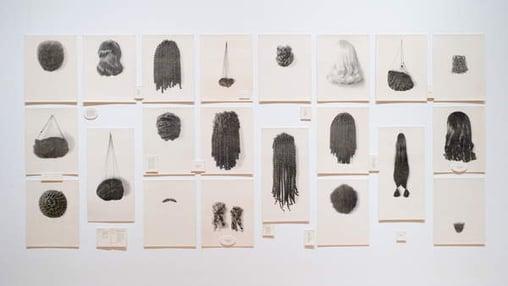 Wigs (Portfolio), 1994 (waterless litho), Lorna Simpson (b. 1960), Museum purchase, Erna Bottigheimer Sands (Class of 1929) Art Acquisition Fund / Bridgeman Images