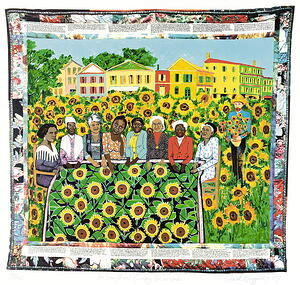 The Sun Flower's Quilting Bee at Arles, 1997 (colour litho), Faith Ringgold (b.1930) / Private Collection / Photo © Christie's Images / Bridgeman Images
