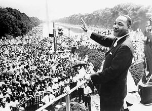 DR. MARTIN LUTHER KING, JR. joyously addresses a mass audience in Washington, DC, 1963 / Everett Collection / Bridgeman Images