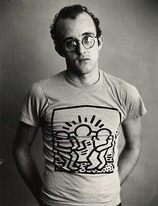 Keith Haring, 1985 (gelatin silver print), Greenfield-Sanders, Timothy (b.1952) / Museum of Fine Arts, Houston, Texas, USA / Gift of Mr. and Mrs. Meredith Long in honor of Mr. and Mrs. Alfred C. Glassell, Jr. / Bridgeman Images