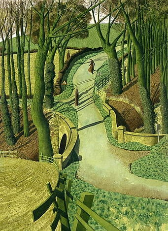 Two Images of Himself in the Future (w/c), Simon Palmer (b.1956) / Private Collection / Bridgeman Images