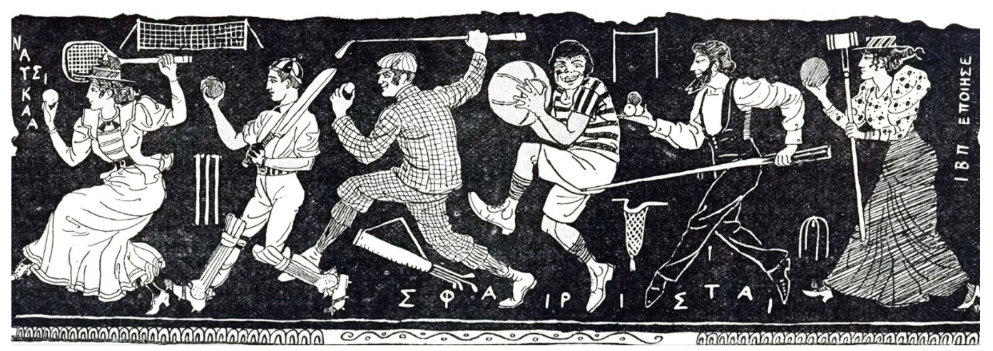A cartoon commenting on the revival of interest in Ancient Greece which culminated in the first modern Olympiad in 1896, 19th century / Universal History Archive / UIG / Bridgeman Images