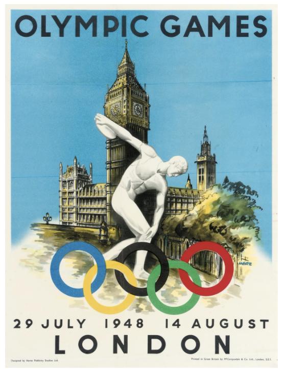 Olympic Games, London, 1948 (colour litho) / Photo © Christie's Images / Bridgeman Images