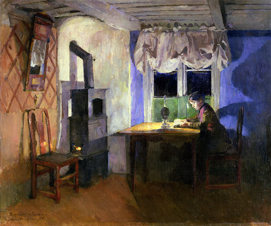 By Lamplight, 1890, Harriet Backer (1845-1933) / Rasmus Meyers Samlinger, Bergen, Norway / Bridgeman Images
