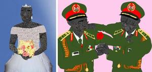 Nduka's Wedding Day (left), Two Generals at War (right), Osinachi / Private Collection / © Osinachi / Bridgeman Images