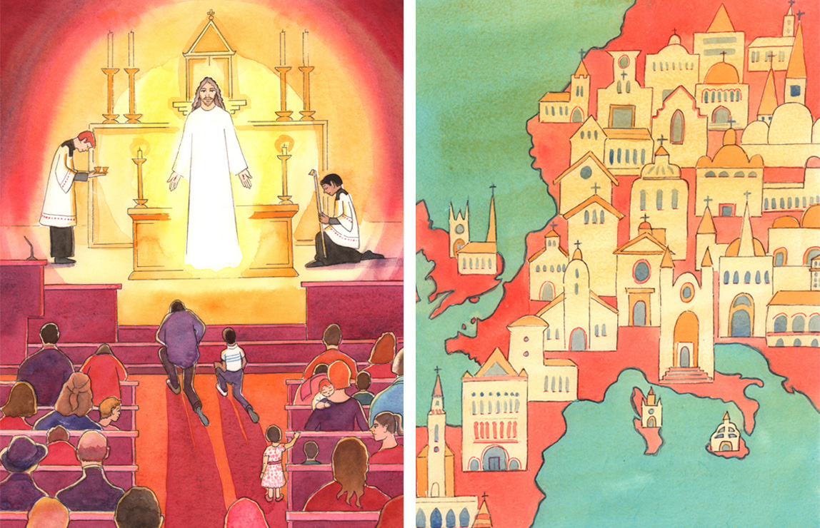 L: The 'jewel' at the heart of a Catholic Church is Jesus our Divine Savior, Present in the tabernacle, 2004 (w/c on paper), Elizabeth Wang (1942-2016) / Private Collection / © Radiant Light / Bridgeman Images. R: Christians should pray frequently, asking God for a renewal of Christian faith in many hearts and many countries, 2004 (w/c on paper), Elizabeth Wang (1942-2016) / Private Collection / © Radiant Light / Bridgeman Images
