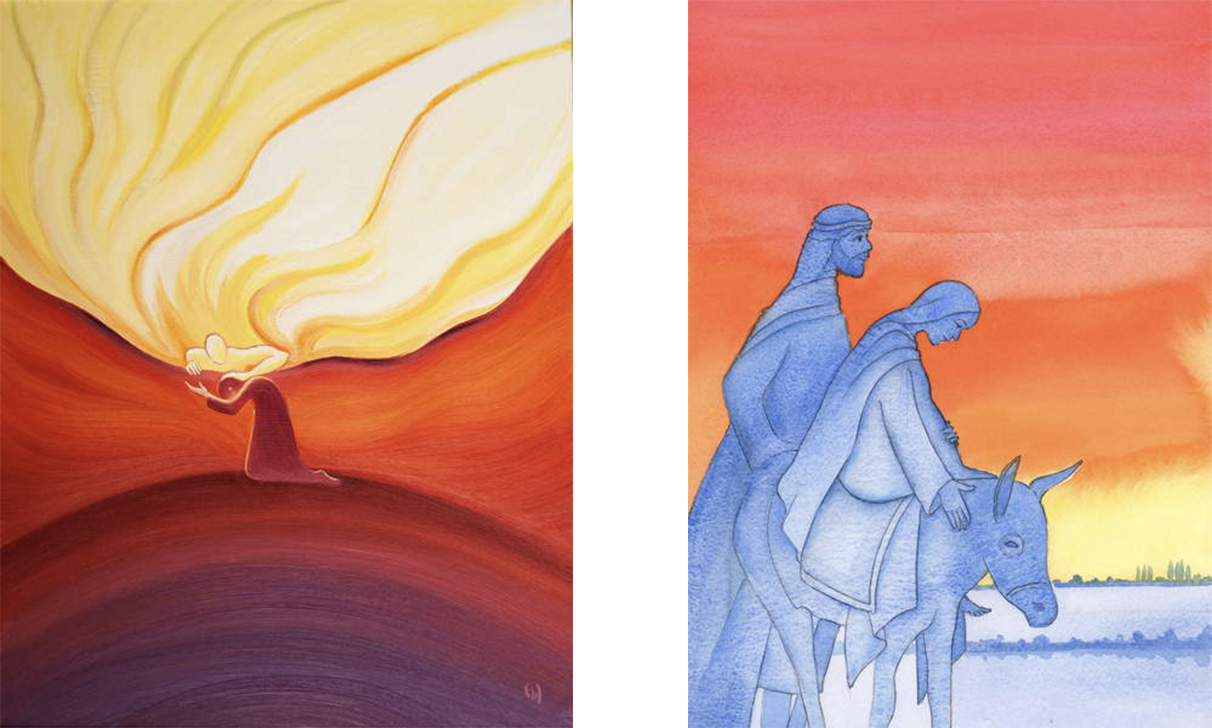 L: Our littlest prayers are welcomed, heard, and rewarded by God, who is like a father stroking his beloved child, 2001 (oil on board), Elizabeth Wang (1942-2016) / English © Radiant Light / Bridgeman Images. R: As Mary travelled to Bethlehem, she was like the Son she would bear, resembling Him in humility, love, trust and obedience, 2003 (w/c on paper), Elizabeth Wang (1942-2016) / English © Radiant Light / Bridgeman Images