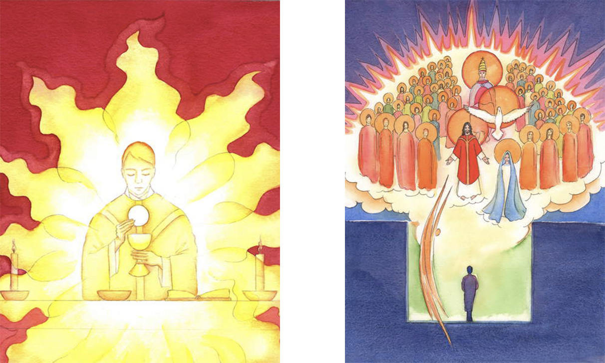 L: The Presence of Jesus in the Eucharist is like a blazing fire of glory, 2001 (w/c on paper), Elizabeth Wang (1942-2016)/English © Radiant Light / Bridgeman Images. R: Personal prayer, in our 'secret room', is never made alone; through Christ we are present with the whole company of Heaven, 2004 (w/c on paper), Elizabeth Wang (1942-2016) / English © Radiant Light / Bridgeman Images.