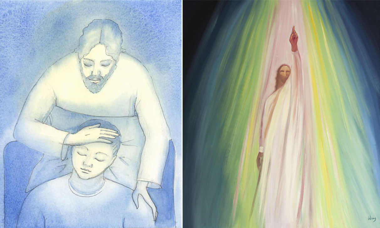 L: Christ sees our pain and exhaustion, and comes to us in Holy Communion to offer consolation and reassurance, like a mother stroking a child's hair., 2004 (w/c on paper), Elizabeth Wang (1942-2016) / English © Radiant Light / Bridgeman Images. R: Jesus urges us to draw closer to the Father and to direct our prayers to Him, 2001 (oil on board), Elizabeth Wang (1942-2016) / Private Collection / © Radiant Light / Bridgeman Images