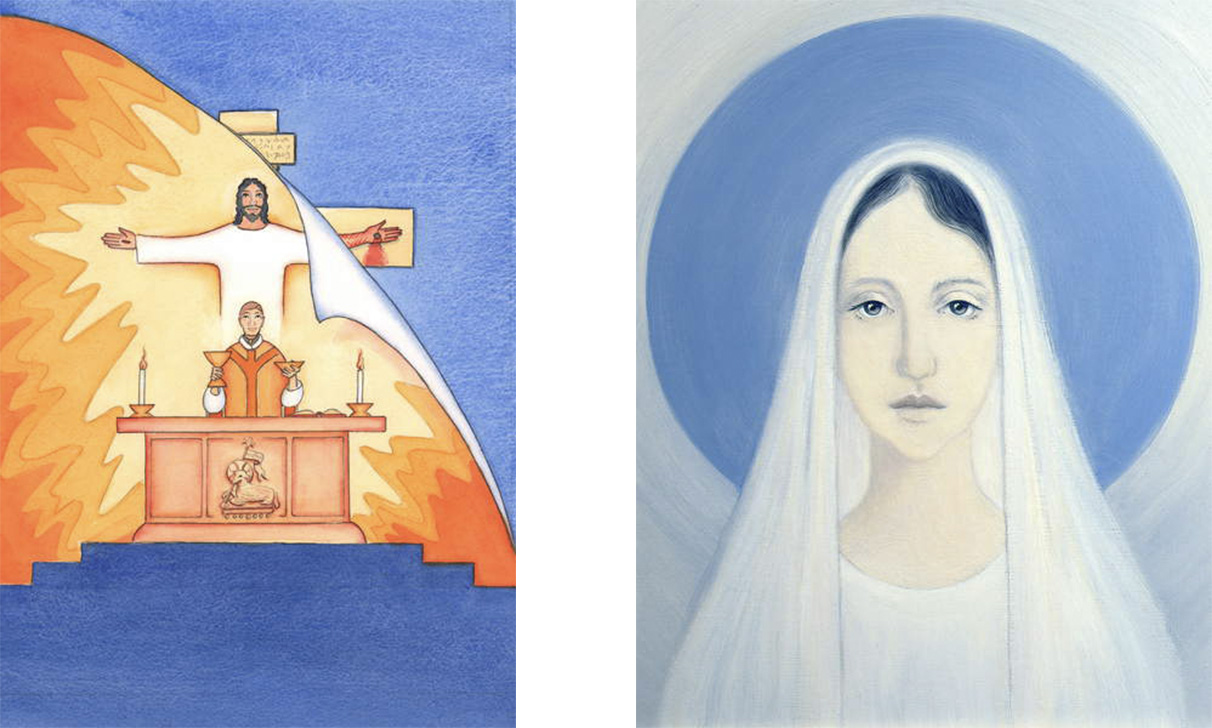 L: Jesus is Present with us at Mass, praying to the Father on our behalf, for help in our needs, and for eternal salvation. We can unite all our prayers with his great sacrificial prayer, 2004 (w/c on paper), Elizabeth Wang (1942-2016) / English © Radiant Light / Bridgeman Images. R: The Virgin Mary, Our Lady of Harpenden, 1993 (oil on panel), Elizabeth Wang (1942-2016) / English © Radiant Light / Bridgeman Images