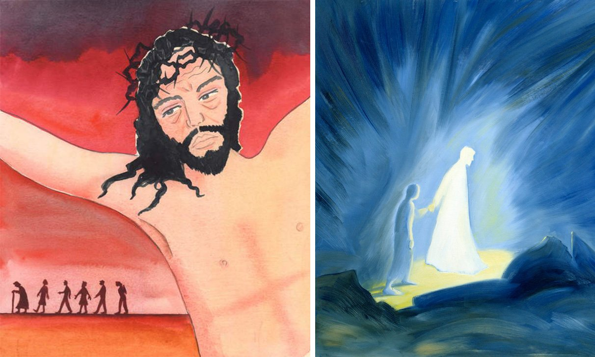 """L: Christ spoke at the Consecration of the wine, saying """"I shed My Blood for them"""", 2004 (w/c on paper), Elizabeth Wang (1942-2016) / English © Radiant Light / Bridgeman Images. R: Even in the darkness of our sufferings Jesus comforts and guides us, 1994 (oil on panel), Elizabeth Wang (1942-2016) / Private Collection / © Radiant Light / Bridgeman Images"""