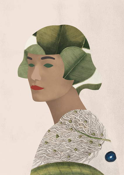 image illustration of a woman bust and head made of leafs and feathers Zelda, 2020 (digital work), Diluviani, Chiara  Private Collection  © Justin Piperger  Bridgeman Images 6317412
