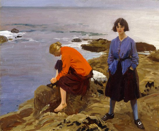 By the Shore, 1917 (oil on canvas), Laura Knight (1877-1970) / Private Collection / Photo © Christie's Images / Bridgeman Images