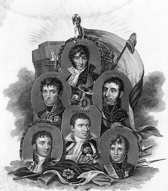 Image of FRENCH MARSHALLS Napoleon's marshalls: Joachim Murat, Andre Massena, Michel Ney, Louis Berthier, Auguste Marmont and Nicolas Soult. Engraving by Freeman and Francis William Topham, c.1815.  © Granger / Bridgeman Images