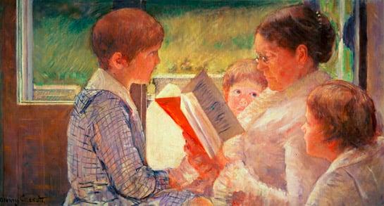 Mrs Cassatt Reading to her Grandchildren, 1888 (oil on canvas), Mary Stevenson Cassatt (1844-1926) / Private Collection / Bridgeman Images