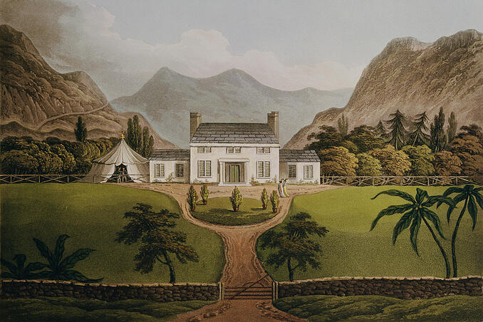 "Image of ""Bonaparte's Mal-Maison at St. Helena"", 1821 (engraving), Hassell, John (1767-1825) / English,Bibliotheque Nationale, Paris, France.  © Bridgeman Images"